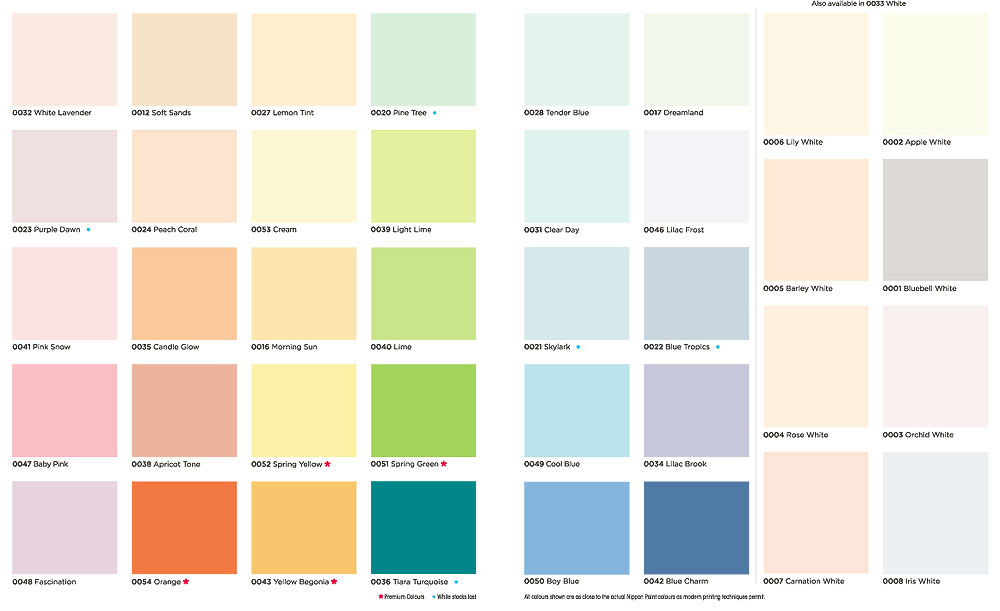 Paint colours singapore for Color charts for painting walls